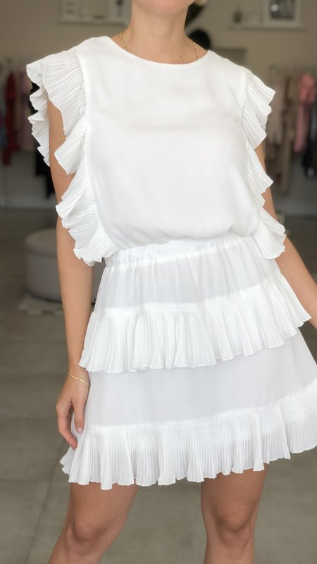 Zoe Pleated Ruffle Dress w/ Continuous Pleating