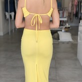 Izzie Knitted Maxi Cut Out Backless Bodycon Slim Dress