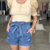 Gaby Round Neck Knit Top w/ Contrast Puff Shortsleeve
