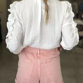 Olivia Crinkled Half Shortsleeve Ruffled Blouse w/ Ruched Detail
