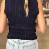 Sofia Shortsleeve Sweater Top w/ Ruffle Rib on Shoulder