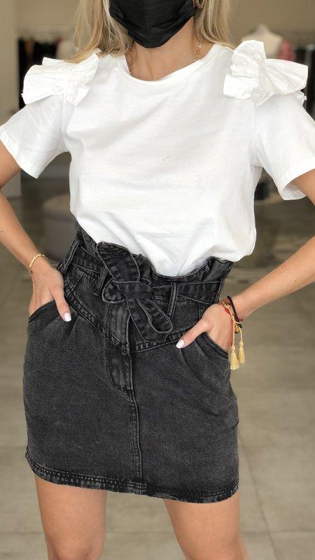 Grace T-shirt w/ Poplin Accent Ruffled