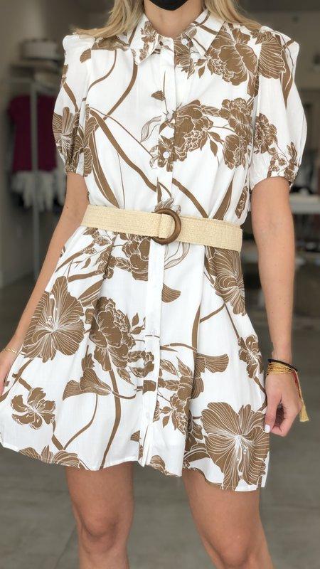 Karen Printed Button Up Dress w/ Puff Shoulders