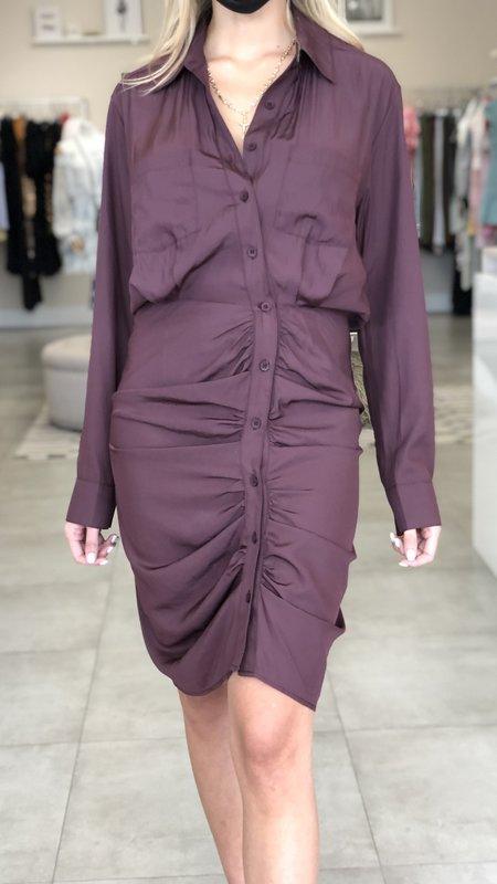 Chloe Longsleeve Ruched Detail Button Down Dress