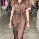 Asa Button Up Front Tie Detail Dress