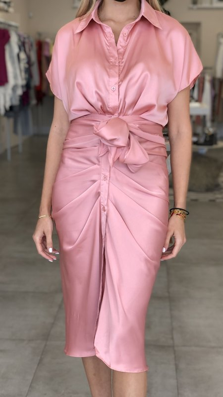 Malia Button Up Front Tie Detail Dress