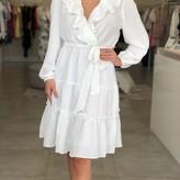 Eleana Ruffle Wrap Midi-Dress