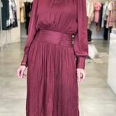 Charlotte Pleated Midi Dress Burgundy