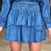 Millie Smoked Waist Mini Skirt Denim