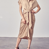 Selena Button Up Front Tie Dress