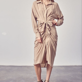 Nataly Collar Button Down Front Tie Dress