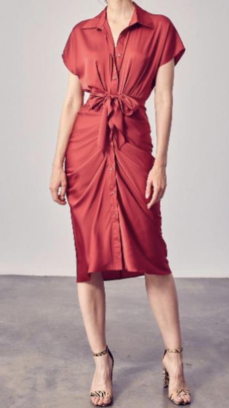 Jody Button Up Front Tie Detail Dress