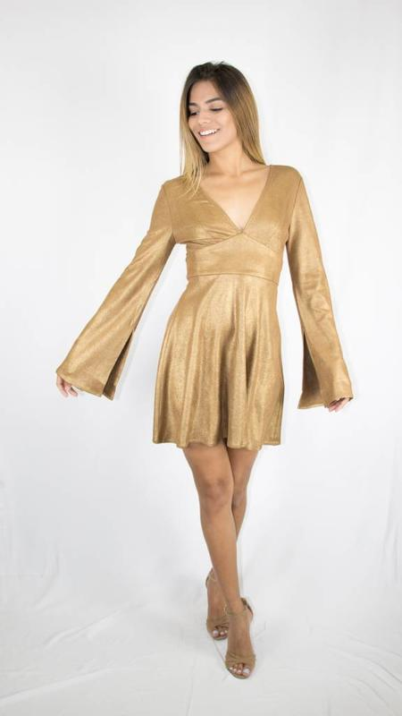 Gold suede retro neck tie dress/