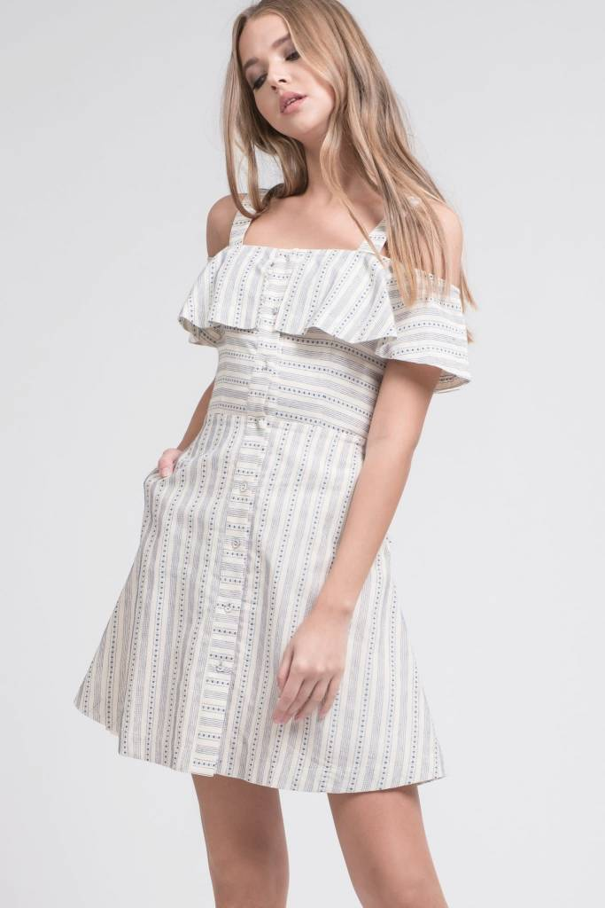 be9931333f7 Line and Dot Print Button Down Cold Shoulder Dress - Mix   Match