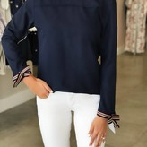 Blouse with Ribbon Snap Cuff