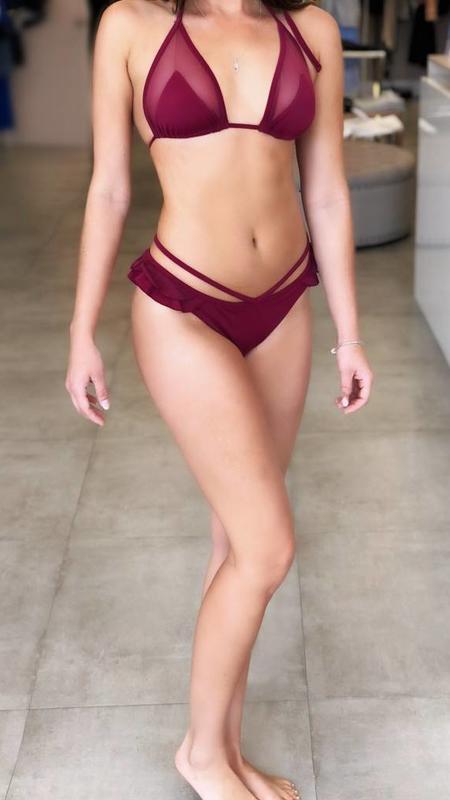 burgundy mesh bikini/macca