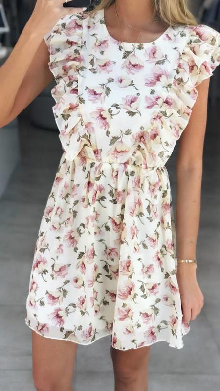 Pastel Floral Ruffle Woven Dress