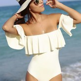 Ruffle off shoulder one piece