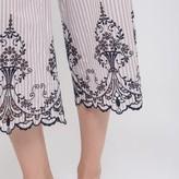 Cold Shoulder Stripe Embroider Detail Jumpsuit
