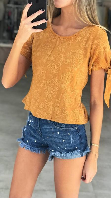 Sleeve Tie Embroidered Top