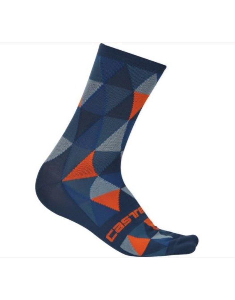 Castelli Castelli Fausto Sock Small/Medium Blue/Orange/Grey