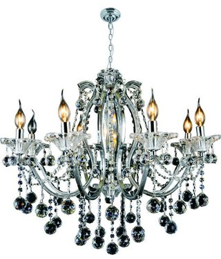 5323H- 8L/CHROME IRON AND CRYSTAL CHANDELIER