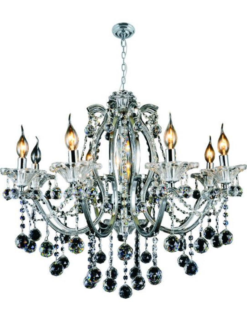 5323h 8l Chrome Iron And Crystal Chandelier B S
