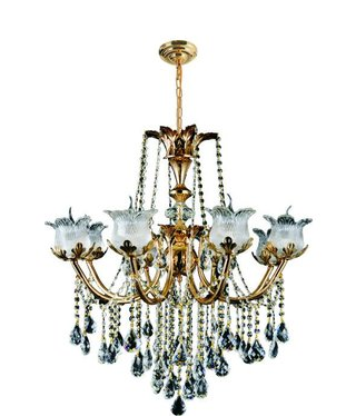 5369 8 LIGHT FGD IRON AND CRYSTAL CHANDELIER
