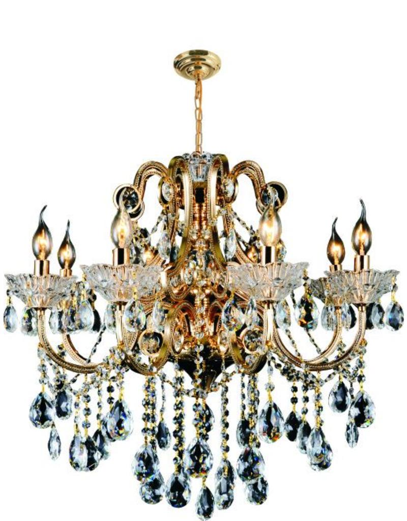 5588 8 LIGHT GOLD IRON AND CRYSTAL CHANDELIER