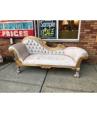 """chase lounge couch 86""""x24"""" beige fabric golden frame"""