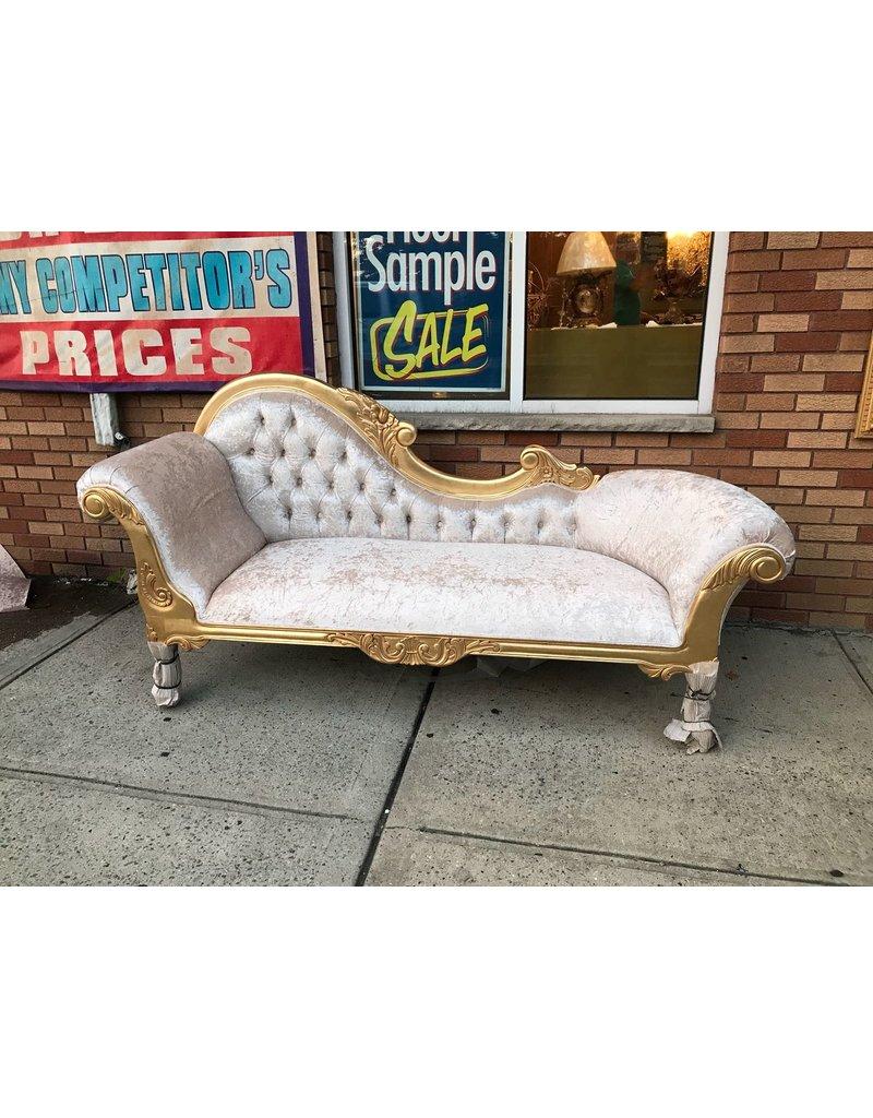 Amazing Chase Lounge Couch 86X24 Beige Fabric Golden Frame B S Inzonedesignstudio Interior Chair Design Inzonedesignstudiocom