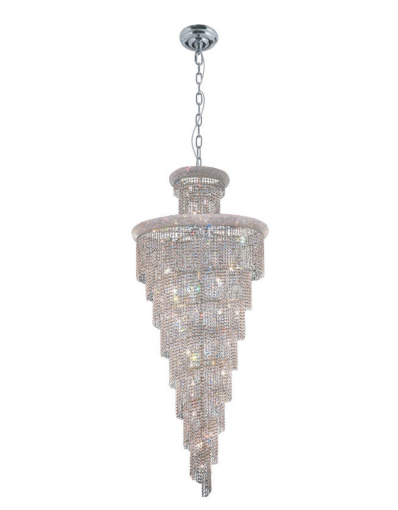 1040H48C - 48 X 96 SPIRAL CHROME HANGING CHANDELIER