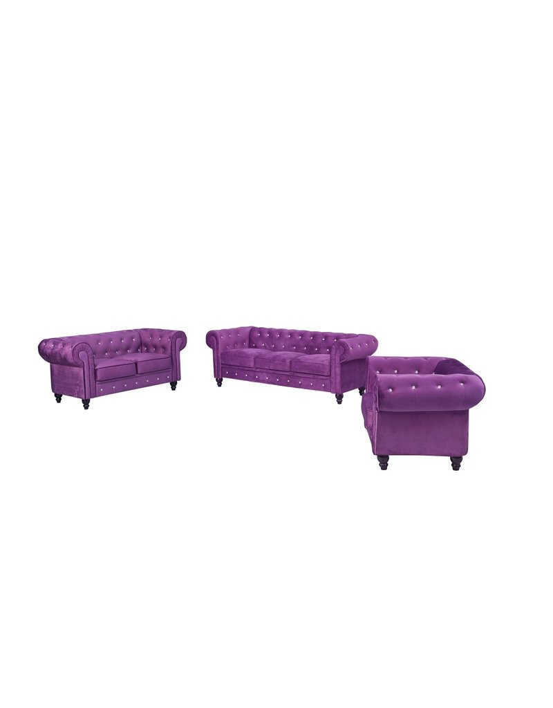PURPLE FURNITURE SOFA D29''W77''H29'' LOVE SEAT D29''W66''H29'' CHAIR D29''W38''H29''