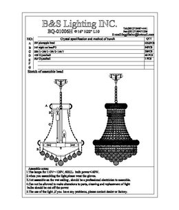 B&S Lighting 1006H-16X20 GOLD BAGEL STYLE CHANDELIER WITH FULL SIDE BEADS (CB61)(FO155)