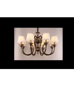 B&S Lighting WYOMING 8L W31''X19''H BRONZE FINISH WITH BEIGE SHADES