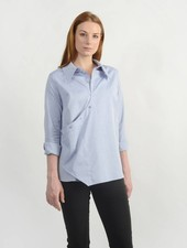 Oxford Faux Wrap Shirt - Blue