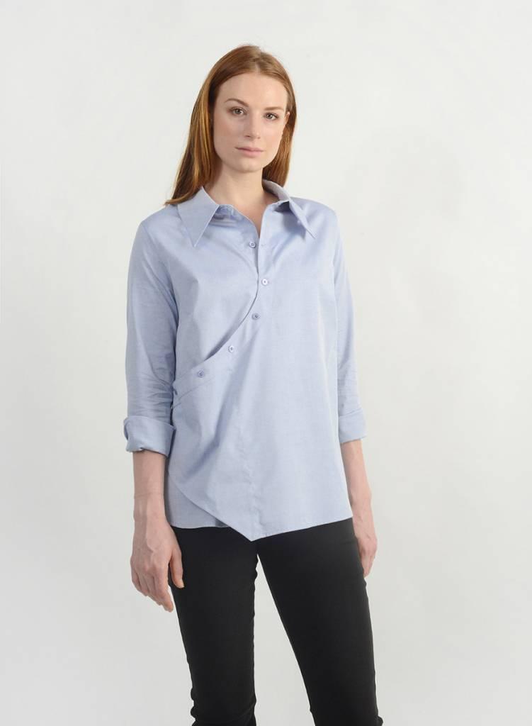 Oxford Faux Wrap Shirt - Blue