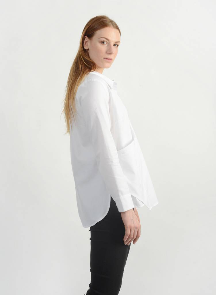 Oxford Faux Wrap Shirt - White
