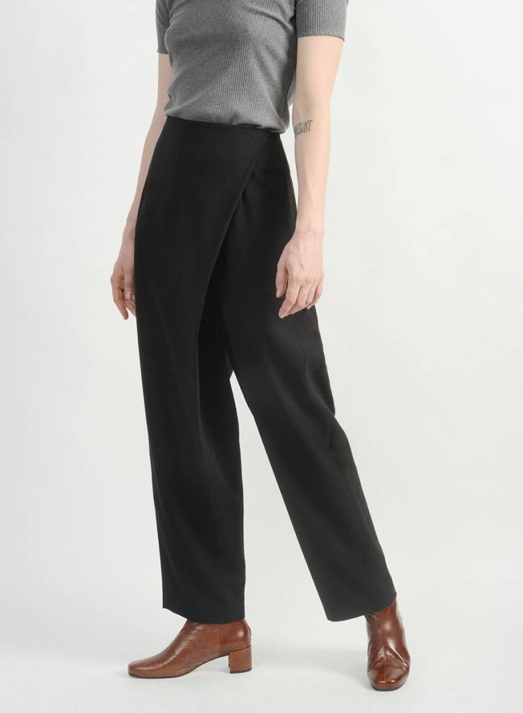 Faux Wrap Pant - Black