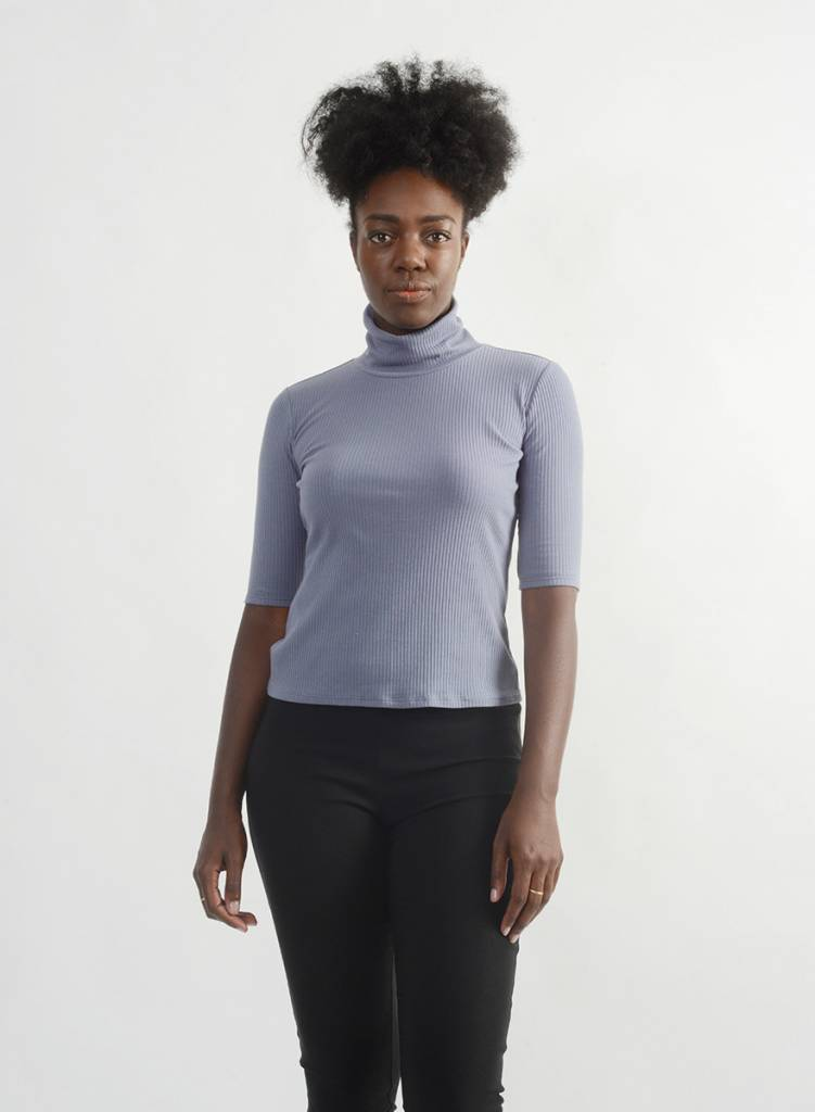 Easy Turtleneck Tee - Periwinkle