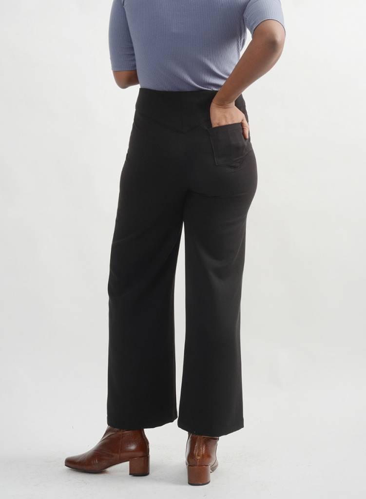 Gabardine Wide Leg Pant - Black