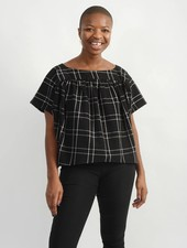 Liberty Top - Black Plaid
