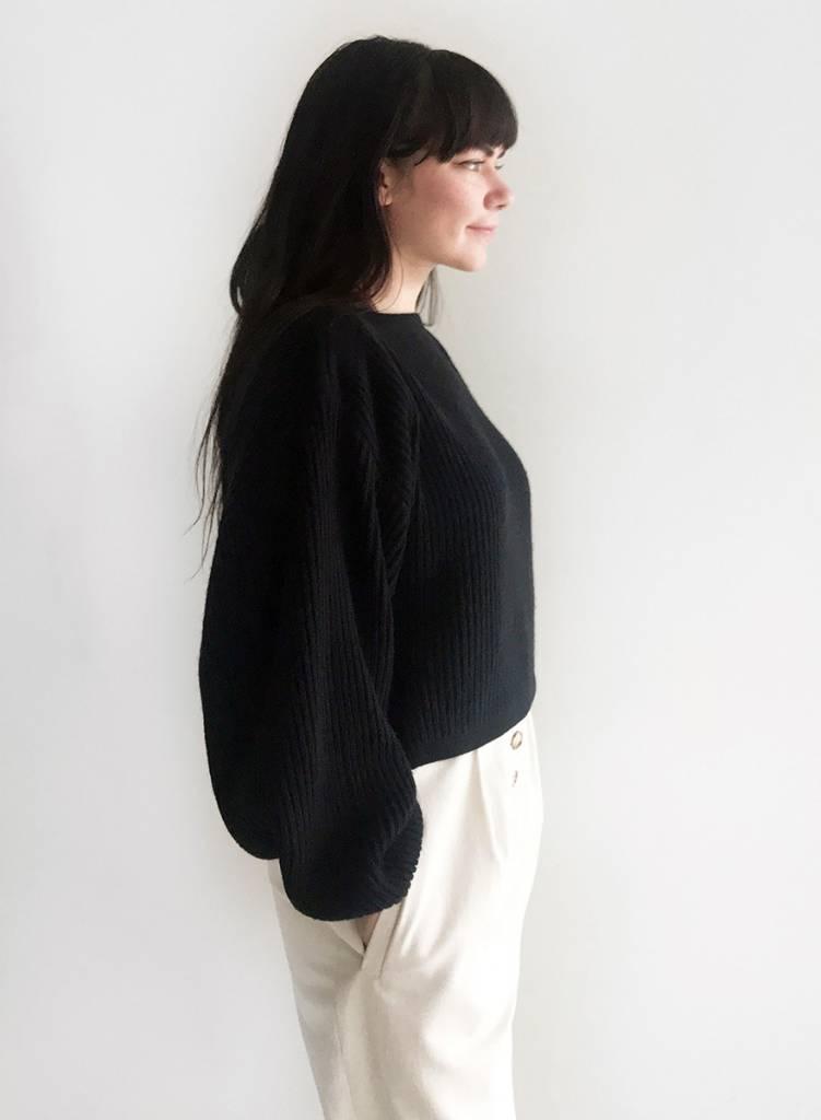 Oversized Boatneck Sweater - Black