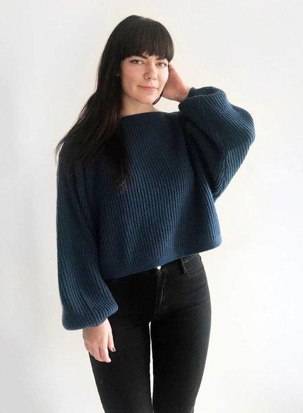 Oversized Boatneck Sweater - Ocean