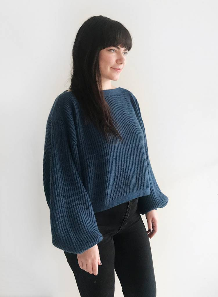 Oversized Boatneck Sweater - Ocean