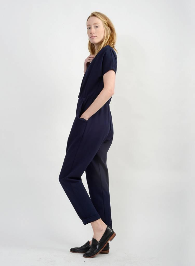 Three Pleat Jumpsuit - Navy