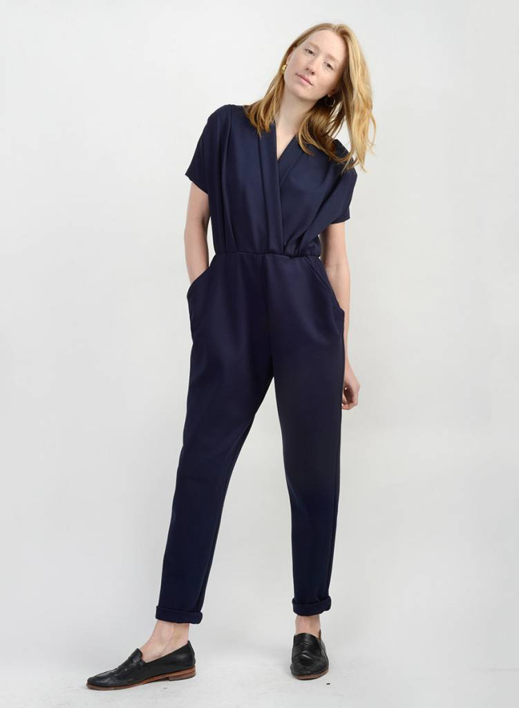 Three Pleat Jumpsuit - Navy