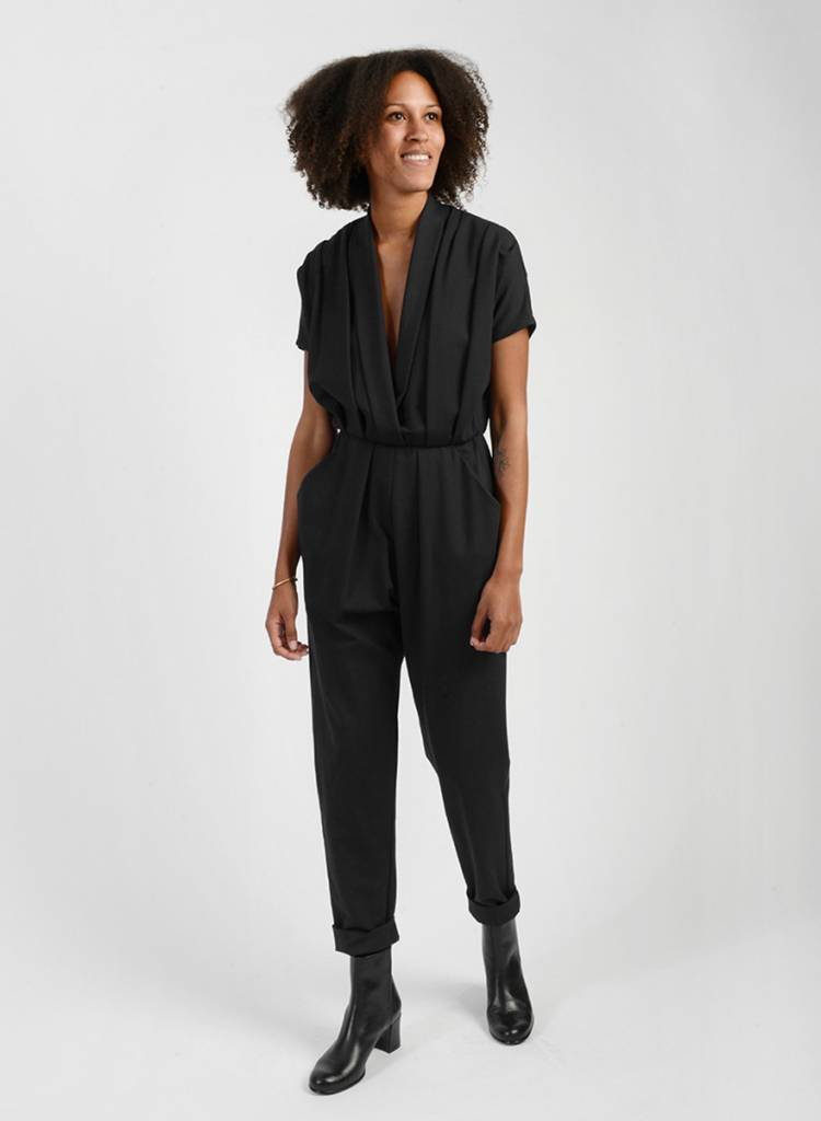 Three Pleat Jumpsuit - Black