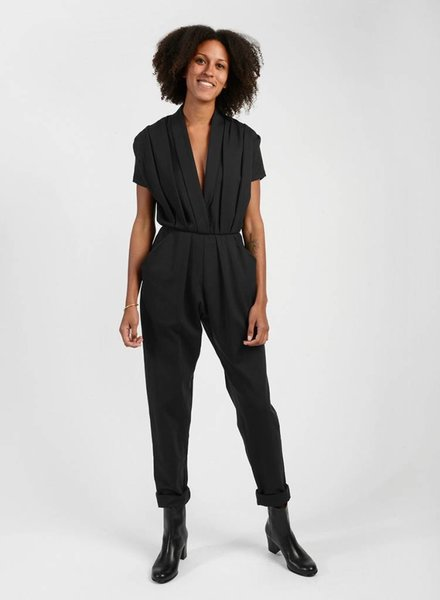 Three Pleat Jumpsuit - Black