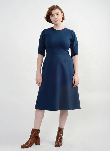 Pleated Sleeve Dress - Deep Teal